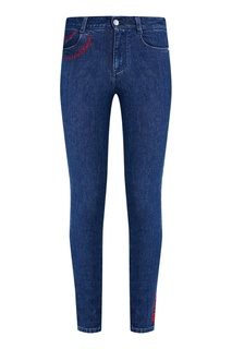 Синие джинсы-скинни с контрастной вышивкой Stella Mc Cartney