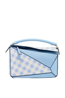 Бело-голубая кожаная сумка Puzzle Loewe