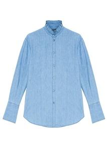 Рубашка из выбеленного денима Alexander Mc Queen