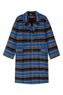 Синее шерстяное пальто в клетку Artem Krivda