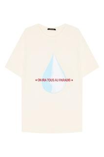 Бежевая футболка с принтом и вышивкой Ana 3.Paradis