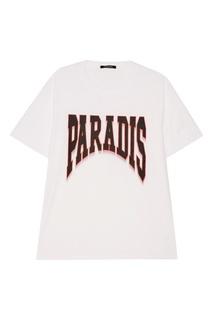 Белая футболка с контрастным принтом Ana 3.Paradis