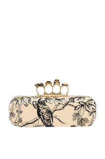 Кожаный клатч с вышивкой Knuckle Alexander Mc Queen