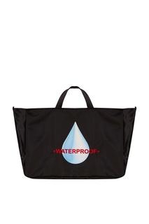 Черная текстильная сумка-шопер с принтом Daily 3.Paradis