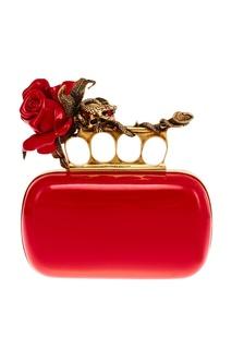 Красный клатч из лакированной кожи Alexander Mc Queen