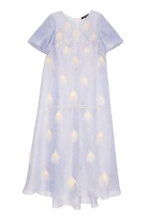 """Шелковой платье """"Лиловое кружево"""" с отделкой перьями Esve"""