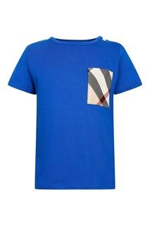 Синяя футболка с цветным карманом Burberry Children