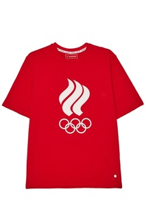 Красная футболка с олимпийской символикой Zasport