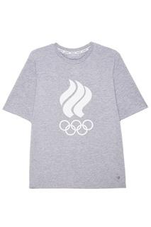 Серая футболка с олимпийской символикой Zasport