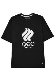 Черная футболка с олимпийской символикой Zasport