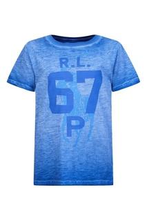 Синяя футболка с принтом Ralph Lauren Children