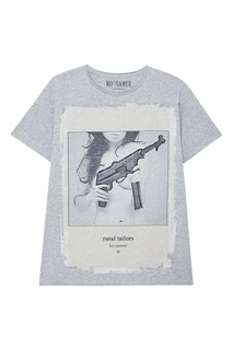 Серая футболка с принтом Mitra KO Samui