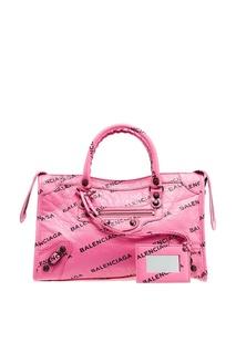 Розовая кожаная сумка Classic City S Balenciaga