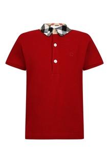 Бордовая футболка-поло с воротником в клетку Burberry Children