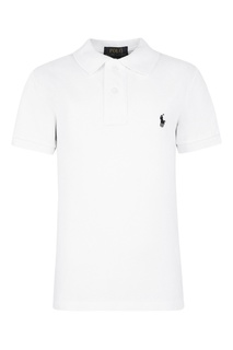 Белая футболка-поло с контрастной вышивкой Ralph Lauren Children