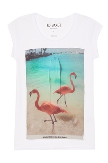 Белая футболка с фламинго Asia KO Samui