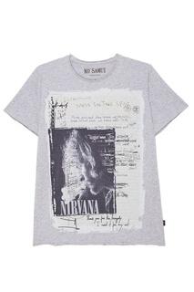 Серая футболка с фотопринтом Smell KO Samui