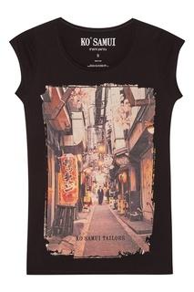 Черная футболка с фотопринтом Walking KO Samui