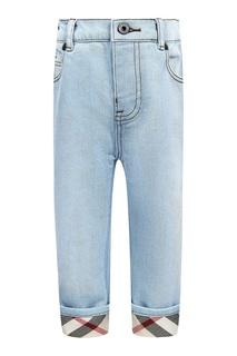 Голубые джинсы с отворотами Burberry Children