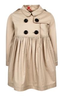 Бежевое платье-тренч Burberry Children