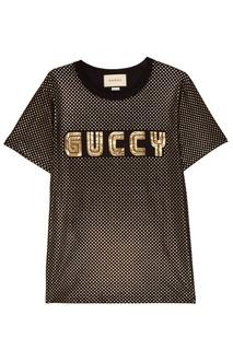 Черная футболка с ламинированным принтом Gucci