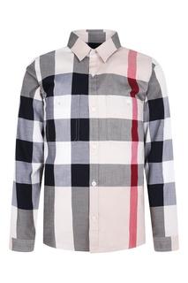 Хлопковая рубашка в клетку Burberry Children
