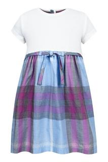 Платье с подолом в клетку Burberry Children
