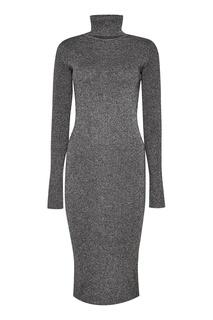 Серое шерстяное платье с люрексом Zasport