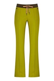 Зеленые шерстяные брюки с лампасами Laroom