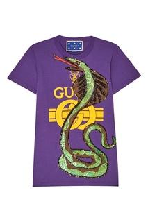 Хлопковая футболка со змеей Gucci