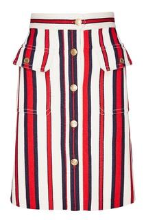 Хлопковая юбка в полоску Gucci