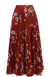 Плиссированная юбка-миди с цветочным принтом Erdem