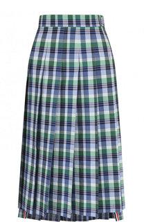 Плиссированная хлопковая юбка в клетку Thom Browne