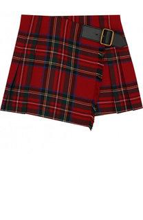 Шерстяная мини-юбка асимметричного кроя с принтом Burberry