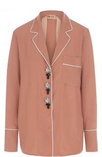 Блуза с декорированными пуговицами и V-образным вырезом No. 21