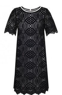 Перфорированное платье с коротким рукавом и круглым вырезом D.Exterior