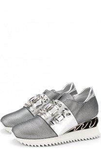 Комбинированные кроссовки с отделкой кристаллами Le Silla