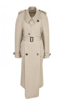 Хлопковое пальто асимметричного кроя с поясом Balenciaga