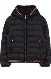 Пуховая куртка с капюшоном и контрастными манжетами Moncler Enfant