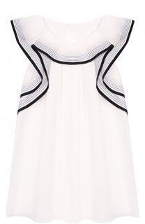 Хлопковое мини-платье свободного кроя с контрастной отделкой Chloé