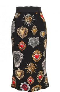 Юбка-миди из вискозы с принтом Dolce & Gabbana