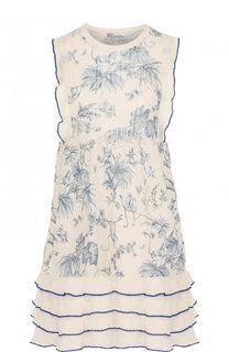 Вязаное мини-платье с принтом и оборками REDVALENTINO