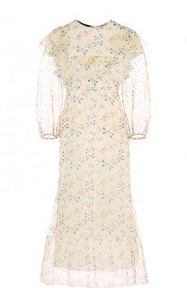 Шелковое платье-миди с принтом Rochas