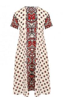 Шелковое мини-платье свободного кроя с принтом REDVALENTINO