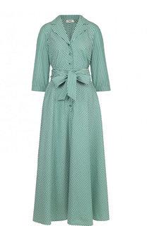 Приталенное хлопковое платье-рубашка в полоску Weill