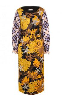 Приталенное платье-миди с поясом и декоративной отделкой Dries Van Noten