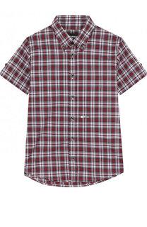 Хлопковая рубашка с принтом и воротником button down Dsquared2