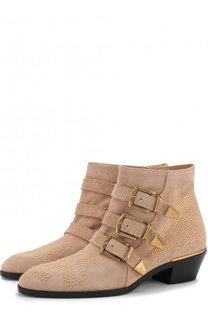 Замшевые ботинки Susanna с заклепками Chloé