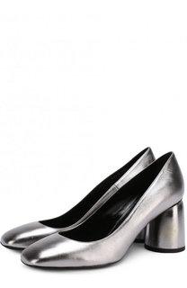 Туфли из металлизированной кожи на фигурном каблуке Baldan