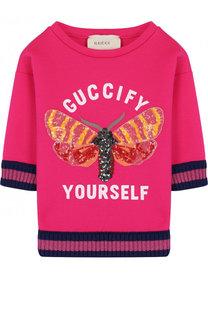 Хлопковый свитшот с контрастными манжетами и пайетками Gucci